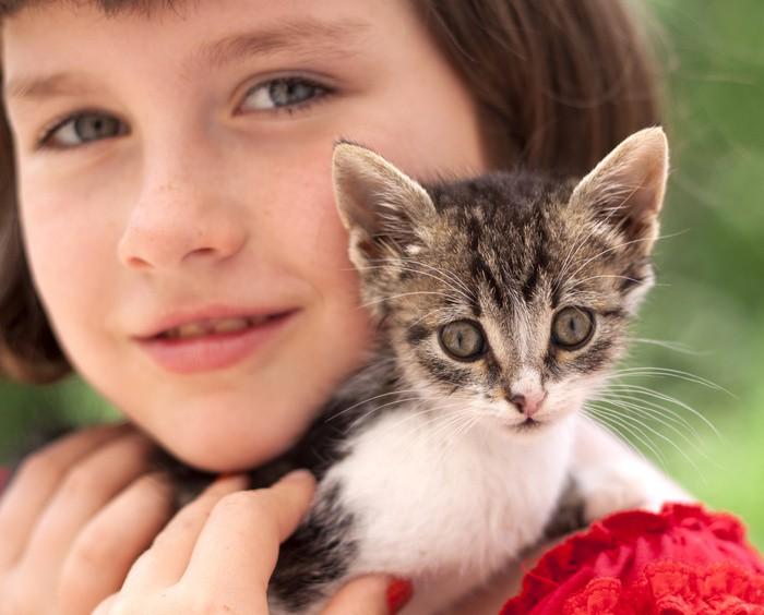 Kind mit Katze auf der Schulter