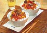 Exotisch zubereitete Ente mit Reis