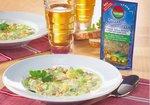 Suppe mit Hackfleisch und Käse