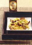 Asiatisch zubereitete Nudeln mit Teriyaki-Pfifferlingen