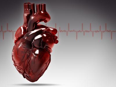 Abstraktes rotes Herz vor Herzrhythmuslinie