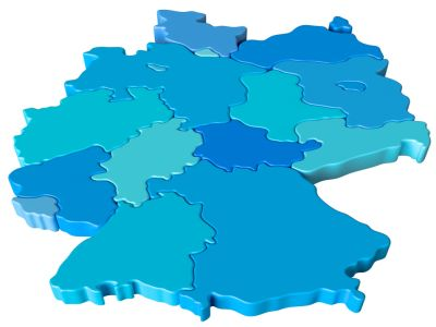 Deutschlandkarte mit blaufarbigen Bundesländer