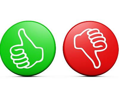 Buttons grün und rot mit Daumen rauf oder runter