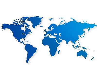 blaue Weltkarte