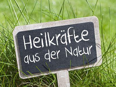"""Kreidetafel auf Wiese , auf der steht """"Heilkräfte aus der Natur"""