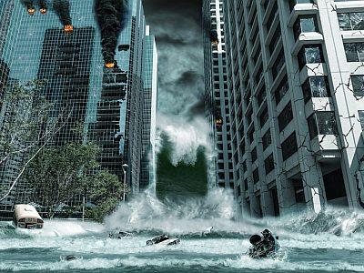 Vom Tsunami zerstörte Stadt.