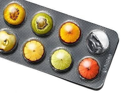Früchte in Tablettenblister
