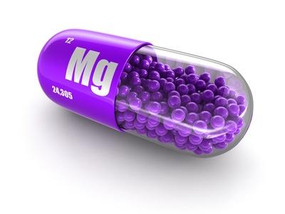 lila Kapsel mit Magnesium