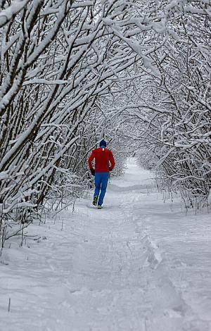 Joggen im verschneiten Winterwald