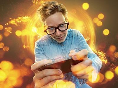 Nerd am Smartphone