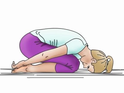 Die Yoga-Übung Stellung des Kindes-Balasana hilft, nervöse Verdauungsprobleme zu überwinden